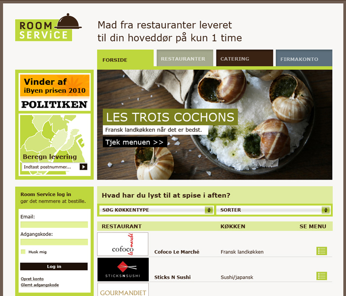 Room Service web design